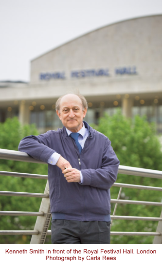 Kenneth Smith in front of the Royal Festival Hall, London Photograph by Carla Rees