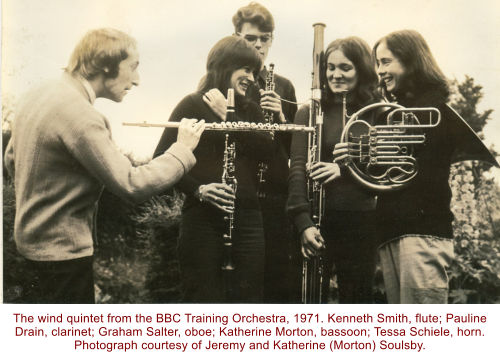 The wind quintet from the BBC Training Orchestra, 1971. Kenneth Smith, flute; Pauline Drain, clarinet; Graham Salter, oboe; Katherine Morton, bassoon; Tessa Schiele, horn. Photograph courtesy of Jeremy and Katherine (Morton) Soulsby.