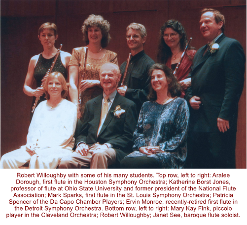 Robert Willoughby with some of his many students. Top row, left to right: Aralee Dorough, first flute in the Houston Symphony Orchestra; Katherine Borst Jones, professor of flute at Ohio State University and former president of the National Flute Association; Mark Sparks, first flute in the St. Louis Symphony Orchestra; Patricia Spencer of the Da Capo Chamber Players; Ervin Monroe, recently-retired first flute in the Detroit Symphony Orchestra. Bottom row, left to right: Mary Kay Fink, piccolo player in the Cleveland Orchestra; Robert Willoughby; Janet See, baroque flute soloist.