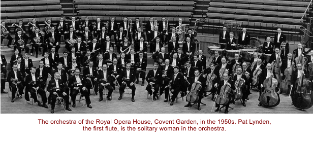 The orchestra of the Royal Opera House, Covent Garden, in the 1950s. Pat Lynden, the first flute, is the solitary woman in the orchestra.