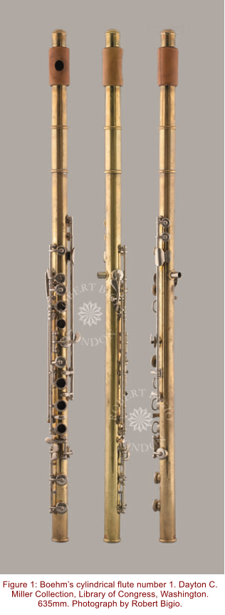 Figure 1: Boehm's cylindrical flute number 1. Dayton C. Miller Collection, Library of Congress, Washington. 635mm. Photograph by Robert Bigio.