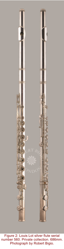 Figure 2: Louis Lot silver flute serial number 560. Private collection. 686mm. Photograph by Robert Bigio.
