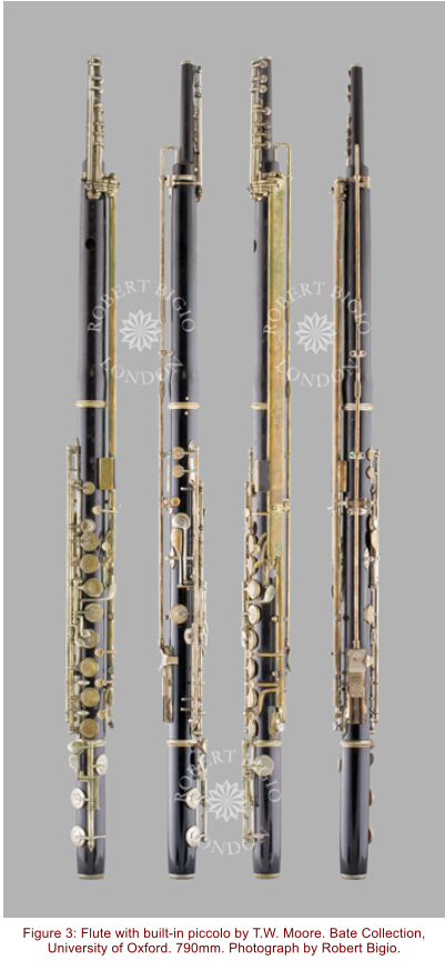 Figure 3: Flute with built-in piccolo by T.W. Moore. Bate Collection, University of Oxford. 790mm. Photograph by Robert Bigio.