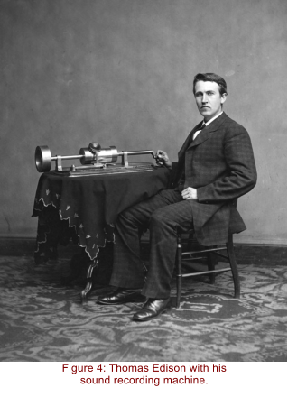 Figure 4: Thomas Edison with his sound recording machine.